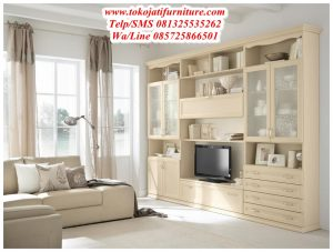 Bufet tv Set Minimalis Duco Cream