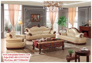set sofa tamu sudut jati modern