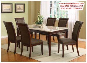meja makan jati minimalis 6 kursi modern