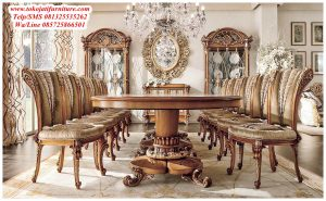 meja makan jati ukiran modern