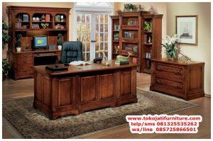 meja kantor jati minimalis antik