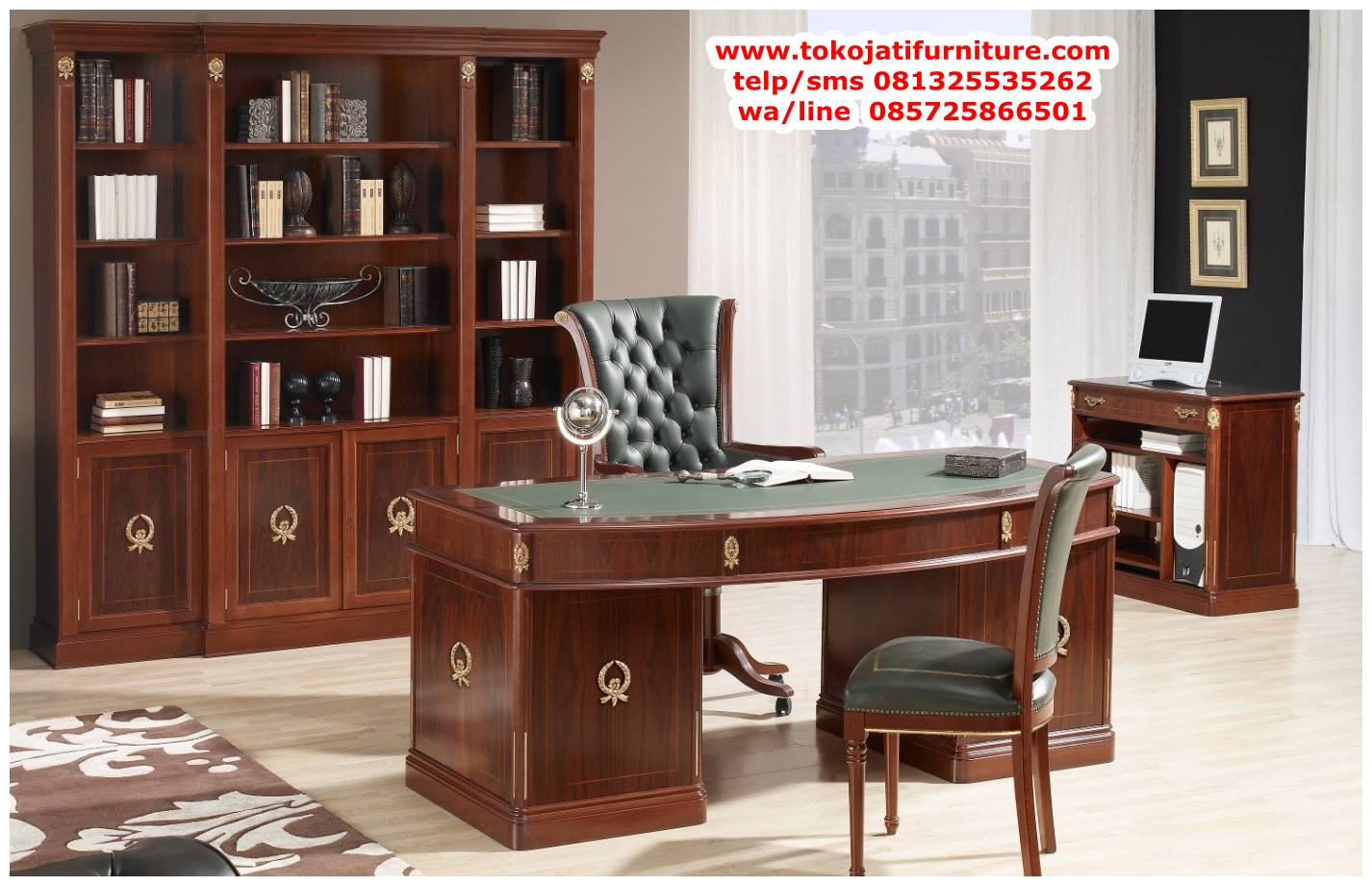 meja-kantor-klasik-jati-mewah meja kantor klasik jati mewah