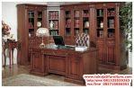 set meja kantor jati lemari pajangan