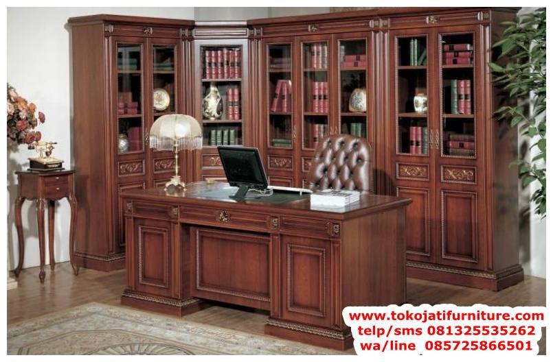 set-meja-kantor-jati-lemari-pajangan set meja kantor jati lemari pajangan