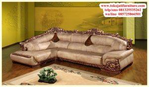 sofa tamu sudut jati ukiran