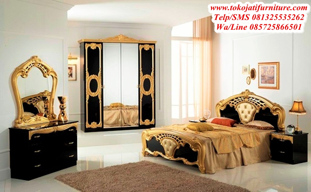 set-tempat-tidur-black-gold-mewah set tempat tidur black gold mewah
