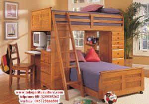 tempat tidur anak tingkat jati modern