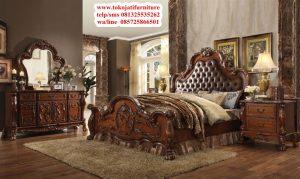 tempat tidur jati natural klasik