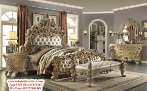 tempat tidur model ukiran jati mewah