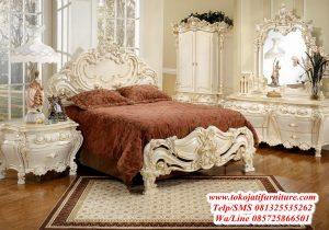 tempat tidur ukiran cream duco mewah
