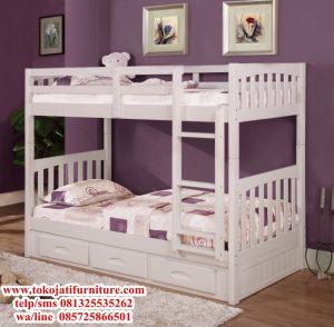 ranjang tidur tingkat anak duco putih