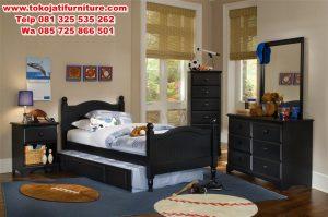 set kamar tidur jati anak modern
