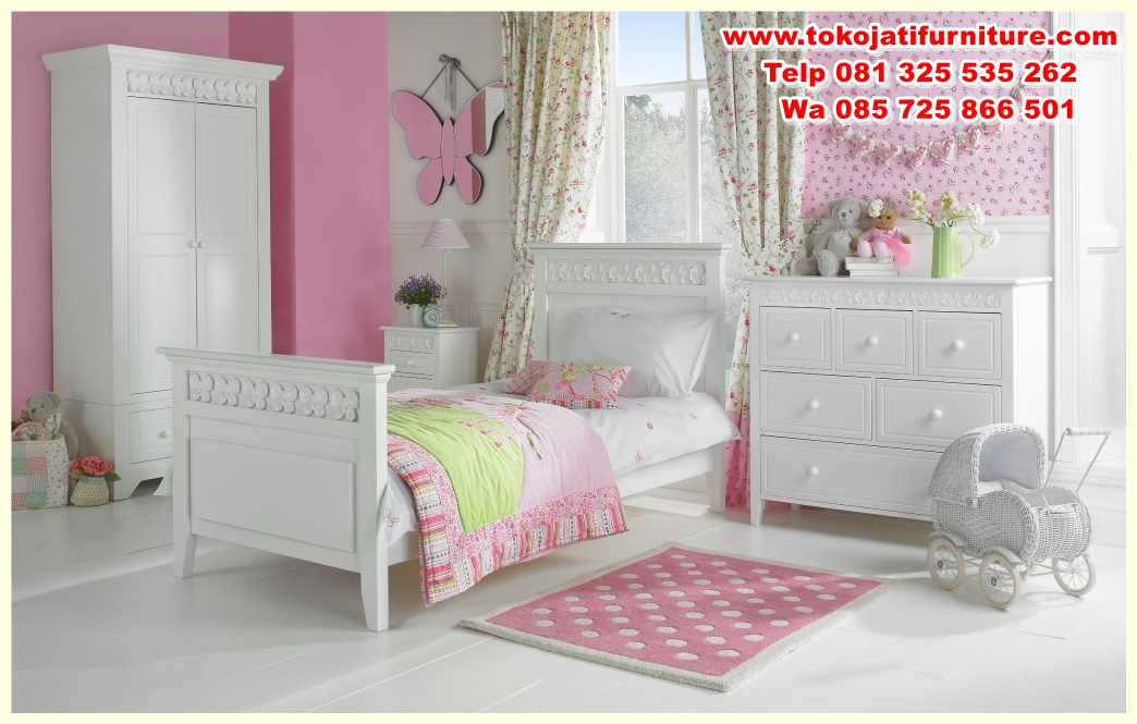enchanting-childs-bedroom-set-kids-bedroom-furniture-sets-childs-bedroom-iwht-pink-and-white-paint-and-white-cupboard-and-white-bed-and-pink-carpet-and-table-with-drawer-and-pink-blanket-and-w set tempat tidur duco anak modern