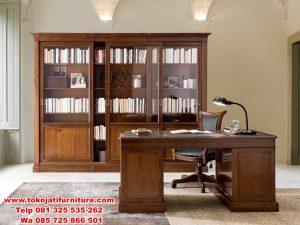lemari buku jati model meja kantor