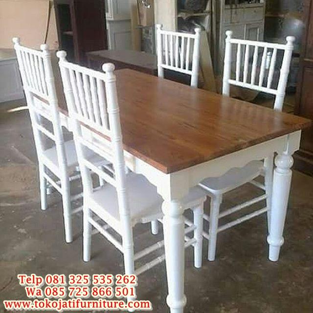 N-1017-Meja-Makan-Minimalis-Duco-Putih meja makan minimalis kafe restoran duco