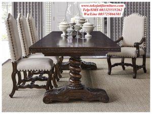 meja makan jati model klasik