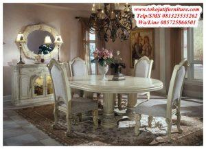 meja makan ukiran duco putih