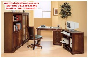 meja kantor jati desain lengkung