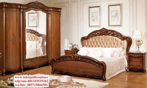 Tempat Tidur Jati Ukiran Modern