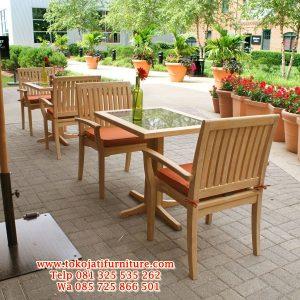 set meja kafe jati restoran taman